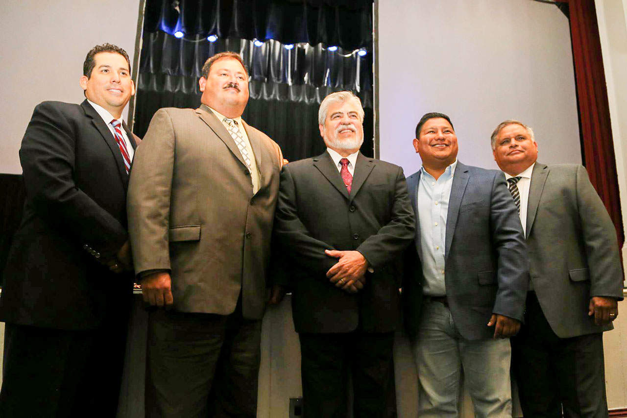"Featured, from left: Agustín ""Gus"" García, Jr., Executive Director, Edinburg Economic Development Corporation; Mark Iglesias, Vice President, EEDC Board of Directors; Mayor Richard H. García, who also serves as President of the EEDC Board of Directors; Harvey Rodríguez, Treasurer, EEDC Board of Directors; and Rolando ""Ronnie"" Guerra, Sr., Secretary, EEDC Board of Directors, following the State of the City Address by the mayor on Wednesday, May 27 at the Edinburg City Auditorium. Richard W. Ruppert, who rounds out the five-member EEDC Board of Directors, was appointed by the Edinburg City Council in early June and thus not included in this portrait. Photograph By DIEGO REYNA"