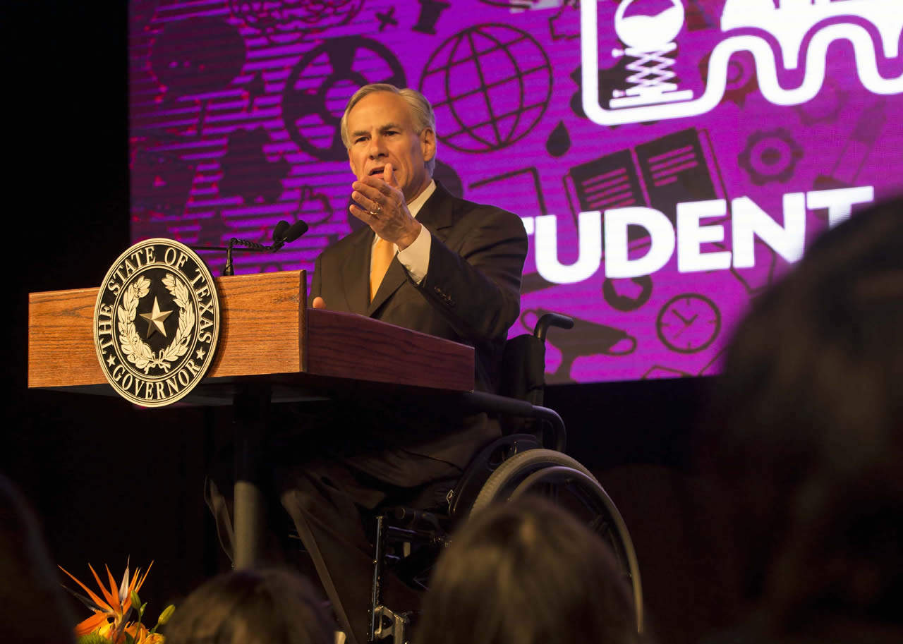 Texas Gov. Greg Abbott spoke at the University of Texas Rio Grande Valley