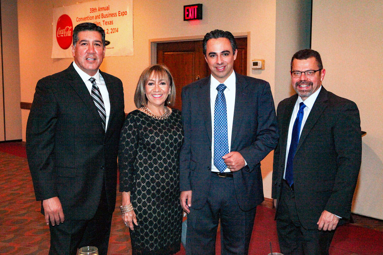 Arnold De La Paz, Founder and President, The DLP Group, Inc., Corpus Christi; Gloria Pérez, President, Asiel Enterprises, Inc., Corpus Christi; Rep. Terry Canales, D-Edinburg; and Roland Barrera, Owner, Roland Barrera Insurance