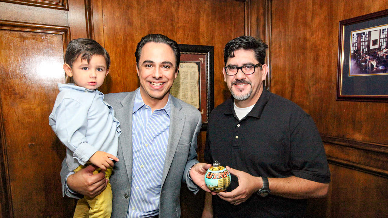 Caleb Ezra Canales, one of the children of Rep. Terry Canales and his wife, Erika; Rep. Terry Canales, D-Edinburg; and Ramiro Peña, a graduate student at the University of Texas Rio Grande Valley