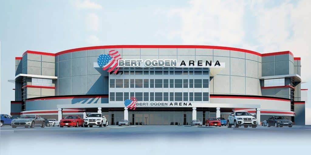 Edinburg EDC: Building permit, valued at  million, issued for major construction phase of 190,000 square foot, 8,500-seat Bert Ogden Arena